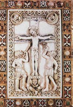 Manuscript cover of the Codex Aureus of Echternach. 11th Century, Gothic Art, Crucifix, Screen Shot, Ephemera, Medieval, Statue, Gallery, Crosses