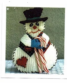 free patterns for plastic canvas | Country Snowman Candy cane Holder Plastic by grammysyarngarden