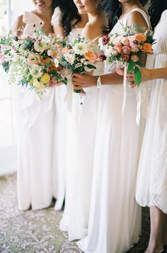 White Chiffon Bridesmaids Dresses | photography by http://stevesteinhardt.com/