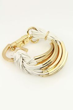 Saachi Gold Hardware String Bracelet In White