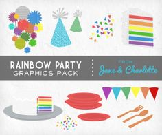 Clip Art Graphics Pack Rainbow Party Bunting Cake Confetti Personal and Small Commercial Use. $3.75, via Etsy.