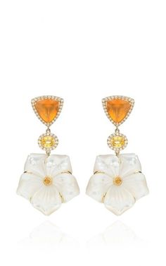 18K Mother Of Pearl, Yellow Sapphire And Mexican Fire Opal Earrings by Nina Runsdorf for Preorder on Moda Operandi