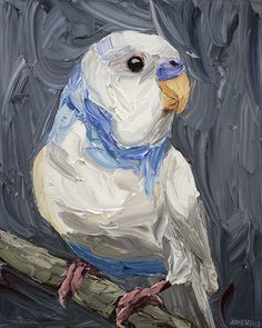 Large White Pied Budgie, Jodie Wells, Oil on  Canvas, 112x90cm, $3800