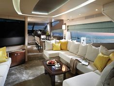 Have you ever wondered what it would be like to wander around inside a plush luxury yacht? Well, this is your lucky day. We've got a gallery of luxurious yacht Luxury Yacht Interior, Boat Interior, Luxury Yachts, Luxury Cars, Built In Sofa, Living Vintage, Luxury Living, Interior Design Inspiration, Design Ideas