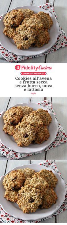 Cookies all'avena e frutta secca senza burro, uova e lattosio