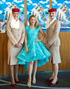Kylie Minogue with Emirates cabin crew at Dubai World Cup. Lovely Dresses, Beautiful Outfits, Blue Dresses, Kylie Minogue X, Air Hostess Uniform, All Disney Princesses, Fashion Design Sketches, Female Singers, Ladies Day