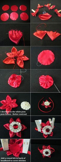 DIY Hair Accessories DIY Headband DIY Tutorial: Red headband with six petal flower and pom pom flower