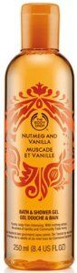 The Body Shop Nutmeg and Vanilla Muscade Et Vanille Bath & Shower Gel 8.4 fl oz (250 ml) by The Body Shop. $34.00. Durable, 8.4 fl oz Plastic Bottle with Flip Top Lid Dispenser. The Body Shop Holiday Collection - Manufacturer Discontinued Seasonal Item, Scent and Packaging Design. Community Trade, Organic Honey Moisturizes and Conditions Skin. Soap-Free Cleansing Gel Leaves Skin Soft and Subtly Scented with Comforting, Warm, Nutmeg and Vanilla. Nutmeg Extract and th...