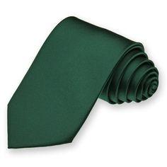 """chris- Hunter Green Narrow Solid Color Necktie, 3"""" Width"""