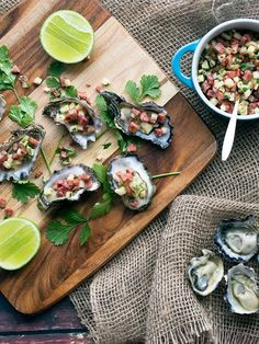 Natural oysters with fried polish salami, pineapple, chili, coriander and lime - simply delicious!