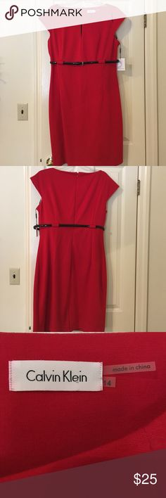 Calvin Klein red shift dress BNWT never worn red shift size 14 Calvin Klein dress. Three vertical cut outs by the shoulders and chest. Belt is attached. Small waist band seam coming apart in front which can be easily fixed. This dress has a good amount of stretch a fits like a body con type style. Calvin Klein Dresses