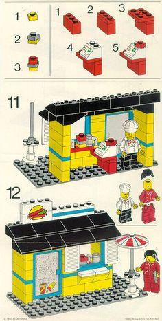 LEGO 6683 Hamburger Stand instructions displayed page by page to help you build this amazing LEGO City set Lego Duplo, Lego Toys, Lego Hogwarts, Vintage Lego, Lego Design, Burger Bar, Modele Lego, Lego Challenge, Lego City Sets