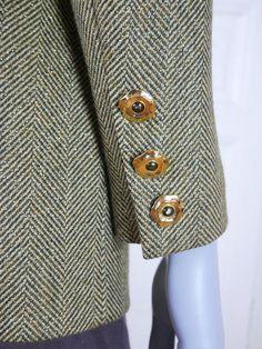 1980s Vintage Blazer, Green Gold Herringbone Power Dressing Jacket, Dynasty Glittering Herringbone Pattern: Size 12/14 US, 16/18 UK by YouLookAmazing on Etsy
