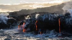 Earth Air Fire and Water: Lava from Kilauea dripping into the sea the Big Island Hawaii [OC] [49012757] #reddit