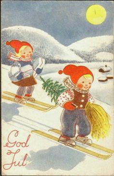 Julekort Usignert. Barn på ski. Oppi brukt 1949