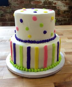Party Cake with Polka Dots and Stripes