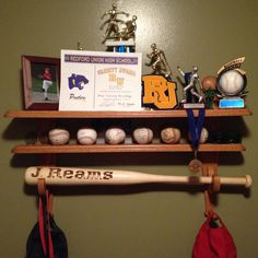 My Dad Made This Shelf To Hold Sons Baseball Trophies Special Baseballs And