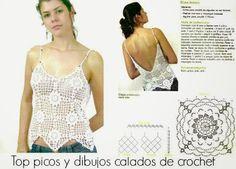 Top con dibujos y picos crochet (Patrones para Crochet)