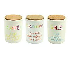 Set di 3 barattoli in ceramica - zucchero/caffe'/sale