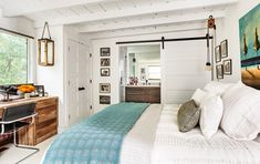 whole house remodel in Mill Valley, CA, master bedroom with sliding barn door to master bath 1930s House Renovation, Farmhouse Trim, Farmhouse Decor, Master Suite, Master Bath, Master Bedrooms, Old Houses, Home Remodeling, Living Spaces