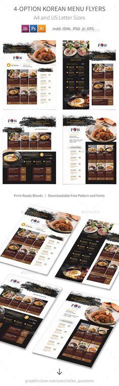 Korean Restaurant Menu Flyers 2 – 4 Options - Food Menus Print Templates
