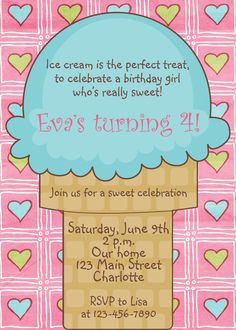 Ice cream party birthday Invitation  ice by TheButterflyPress