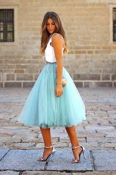 girly pastel blue skirt