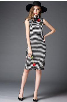 Chinois col montant mince genou longueur Sexy soie élégante rayé broderie de fleurs manches Qipao robe couleurs mélangées OY60222
