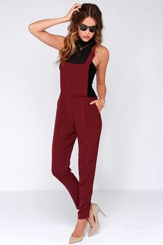 Say Your Piece Burgundy Overalls at Lulus.com!