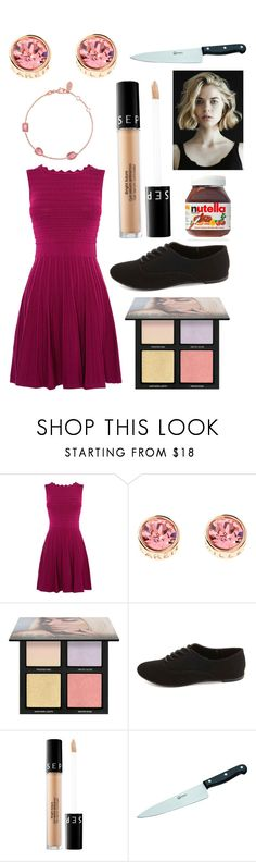 """Erica from BLACK HOLLOW CAGE"" by hailey-smith-13 ❤ liked on Polyvore featuring Karen Millen, Huda Beauty, Charlotte Russe, Sephora Collection, Böker and Latelita"