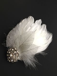 $30 Feather Bridal Fascinator - BIANCA - white feathers, silver natural leaves and vintage rhinestone brooch