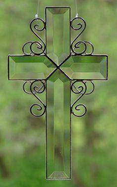 Beveled Glass Cross by theglassmenagerie on Etsy, $16.00