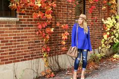 COBALT BLUE AS MY GO-TO #fashion #blog #cobalt #blue #denim #heels #nudeheels #nude #laceupheels #stilettos #blonde #fedora #fall #fallfashion #chicago #peplum