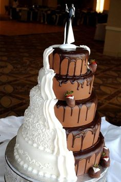 A wedding cake that's half groom cake! Photo Credit: Shockley's Sweet Shoppe