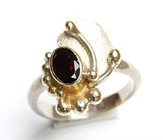 Handmade Vintage Solid Bali Sterling Silver Wide band ring, decorated with 18 K Gold and gemstone,  UK Size: M/N  - USA Size - 6.5