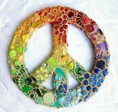 Rainbow peace paper plate craft