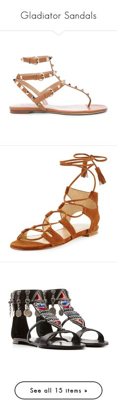 """Gladiator Sandals"" by ellielinder ❤ liked on Polyvore featuring shoes, sandals, flats, gladiator sandals, flats sandals, valentino flats, buckle strap sandals, leather sandals, amaretto and shoes sandals"