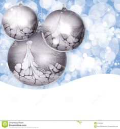 Silver Christmas Ornaments ~ Blue Bokeh Background Stock Photos ...