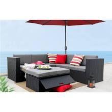 Baner Garden K35 4 Pieces Outdoor Furniture Complete Patio Wicker Rattan Garde Rattan Garden Corner Sofa Corner Sofa Set Patio Cushions
