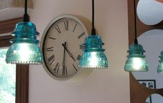 Blue Glass Insulator Pendant lights by RizBerry through Etsy.com
