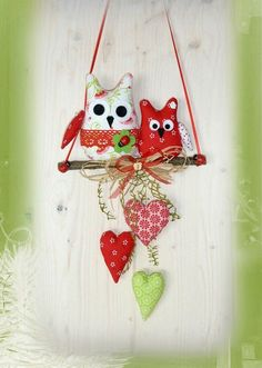 Garland * 2 owls * heart * owl * country house * tilda * fabric * decoration * spring - Lilly is Love Fabric Decor, Fabric Crafts, Sewing Crafts, Paper Crafts, Fabric Garland, Wreath Crafts, Felt Crafts, Diy And Crafts, Diy Girlande