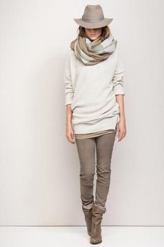 Love the neutral colors and the layering so much, though I'd probably lose the scarf and hat, myself...