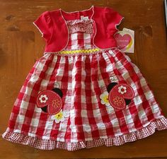 NWT Youngland girls 4T red check Lady bugs dress with attached jacket  #Youngland #Party