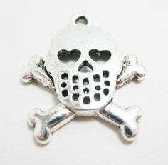 2 Skull and Crossbones Silver Charms Heart by OverstockBeadSupply, $1.45