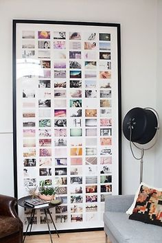 Inspiration/  Make a feature of your favourite photos with a very large photo collage frame.  You could pick an interesting theme for your collection ie travel/family or go for a classic black and white look or just random photos like above which looks great.
