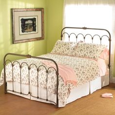 Hillsboro Iron Bed by Wesley Allen - Cottage White Finish King headboard, footboard and frame, free shipping $944.18 04072016
