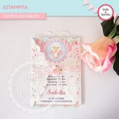 Shabby Chic aqua+rosa: wrappers y toppers - Todo Bonito Shabby Chic, First Communion, Vintage Girls, Christening, Invitation Cards, Aqua, Baby Shower, Frame, Crafts