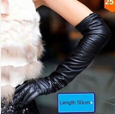 New 2016 Women Fashion Gloves Black Long Leather Gloves 40cm & 50cm Women's Mittens Winter Ladies Leather Gloves