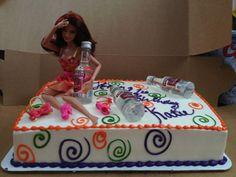 Drunk Barbie Cake for Katie's Birthday! Drunk Barbie Cake, Barbie Funny, Barbie Birthday Cake, 21st Birthday Cakes, Birthday Board, Girl Birthday, Beach Themed Cakes, Theme Cakes, 21st Bday Ideas