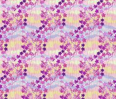 Violet Plumeria Crayon Art on Pastel Colors fabric by bloomingwyldeiris on Spoonflower - custom fabric